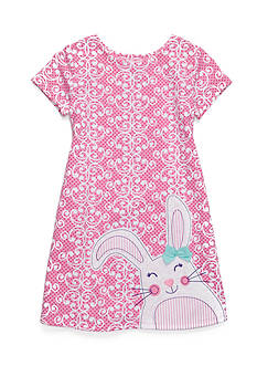 J. Khaki Short Sleeve Bunny Scroll Print Dress Girls 4-6X
