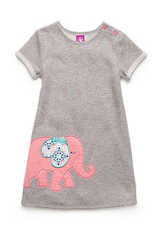 J. Khaki French Terry Elephant Dress Girls 4-6X