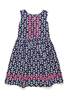 J. Khaki Embroidered Dress Girls 4-6x