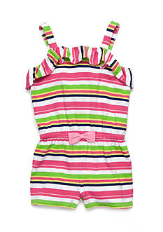 J. Khaki Striped Romper Girls 4-6x