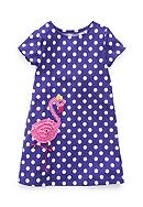 J. Khaki® Flamingo Dot Dress Girls 4-6x