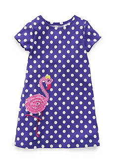 J. Khaki Flamingo Dot Dress Girls 4-6x