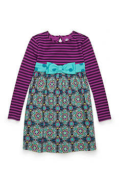 J. Khaki Mixed Media Dress Girls 4-6X