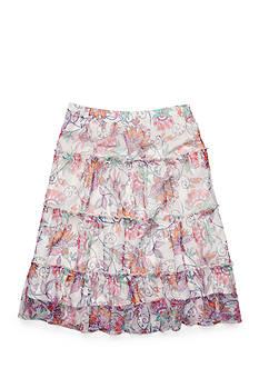 J. Khaki Floral Print Mesh Prairie Skirt Girls 7-16