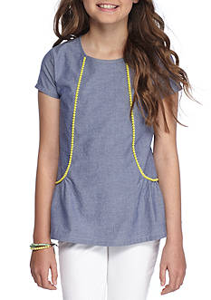 J. Khaki Chambray Pom Pom Top Girls 7-16