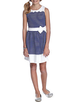 J. Khaki Girls Striped Scallop Dress
