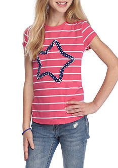 J. Khaki Striped Tee Girls 7-16
