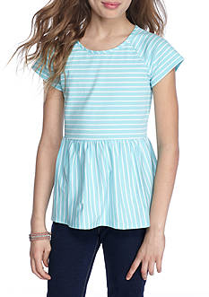 J. Khaki Striped Peplum Top Girls 7-16
