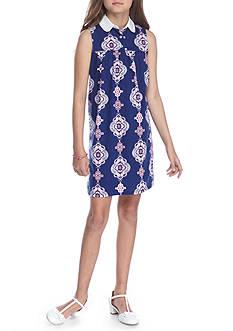 J. Khaki Medallion Print Dress Girls 7-16