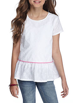 J. Khaki Pom Pom Peplum Top Girls 7-16