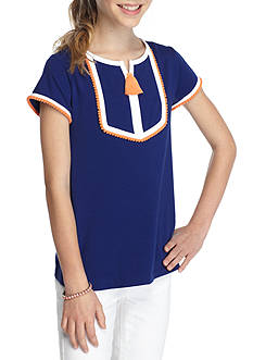 J. Khaki® Short Sleeve Solid Top Girls 7-16