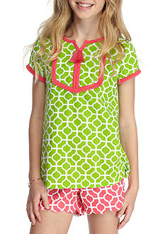 J. Khaki® Short Sleeve Geo Print Top Girls 7-16
