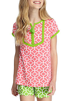 J. Khaki Short Sleeve Geo Print Top Girls 7-16