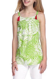 J. Khaki Palm Print Tank Top Girls 7-16