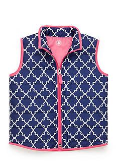 J. Khaki Trellis Print Puffer Vest Girls 4-6X