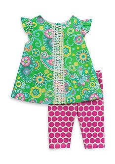 Rare Editions 2-Piece Paisley Print Top And Capri Set Girls 4-6x