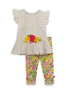 Rare Editions 2-Piece Eyelet Top And Floral Capri Set Girls 4-6x