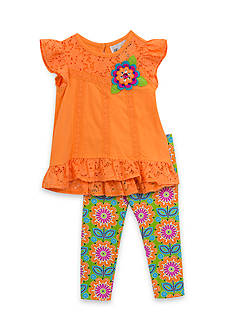 Rare Editions 2-Piece Tunic And Floral Print Capri Set Girls 4-6x