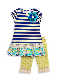 Rare Editions 2-Piece Stripe To Floral Top And Capri Set Girls 4-6x