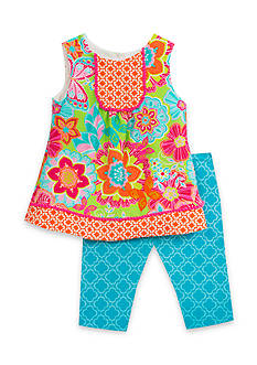 Rare Editions 2-Piece Multi Print Top And Capri Set Girls 4-6x