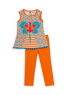 Rare Editions 2-Piece Butterfly Pleated Top And Capri Set Girls 4-6x