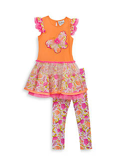 Rare Editions 2-Piece Butterfly Tutu Top And Floral Legging Set Girls 4-6x