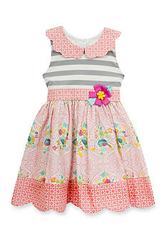 Rare Editions Bird Printed Dress Girls 4-6x