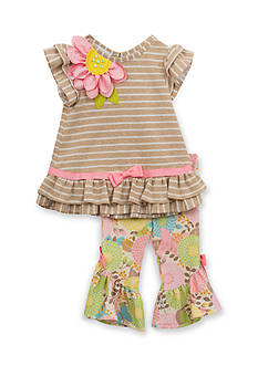 Rare Editions Stripe Top and Floral Capri 2-Piece Set Girls 4-6x
