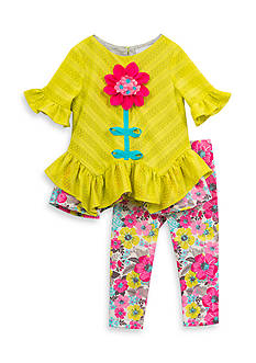 Rare Editions Floral Top and Leggings Set Girls 4-6X