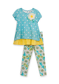 Rare Editions 2-Piece Dot Daisy Top and Leggings Set Girls 4-6X