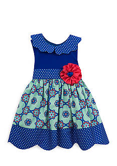 Rare Editions Mixed Media Polka Dot Dress Girls 4-6x