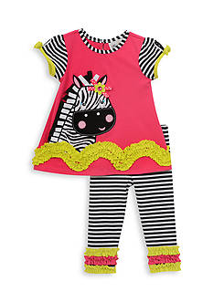 Rare Editions 2-Piece Zebra Top And Striped Capri Set Girls 4-6x