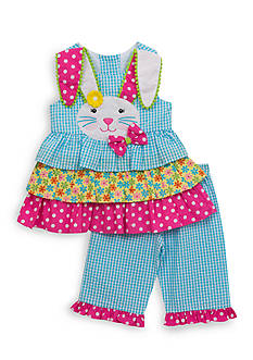 Rare Editions 2-Piece Easter Bunny Seersucker Top And Capri Set Girls 4-6x