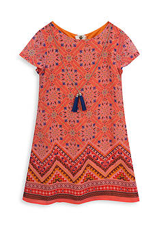 Rare Editions Multi Printed Shift Dress with Necklace Girls 4-6x