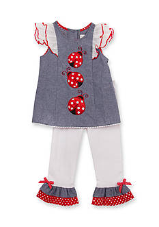 Rare Editions 2-Piece Ladybug Chambray Top and Pants Set Girls 4-6x