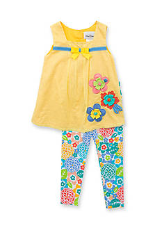 Rare Editions 2-Piece Clip Dot Top and Floral Legging Set Girls 4-6x