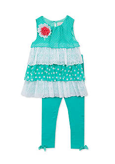 Rare Editions 2-Piece Chiffon and Eyelet Tiered Top and Legging Set Girls 4-6x