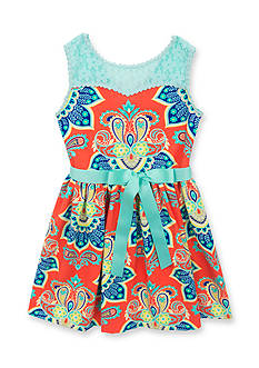 Counting Daisies by Rare Editions Sleeveless Paisley Knit Dress Girls 4-6x