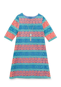 Rare Editions Striped Lace Shift Dress Girls 7-16