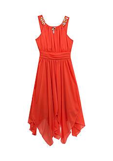 Rare Editions Jewel Neckline Uneven Hem Dress Girls 7-16