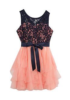 Rare Editions Navy Blush Cascade Sleeveless Dress Girls 7-16