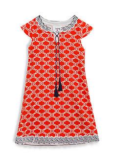 Rare Editions Orange Geo Print Knit Dress Girls 7-16