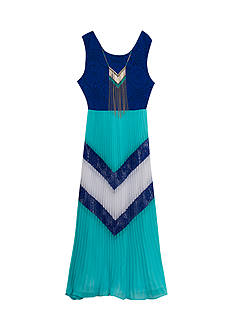 Rare Editions Pleated Chevron Print Maxi Dress Girls 7-16