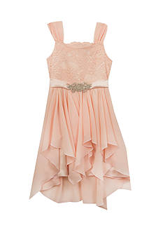 Rare Editions Blush Lace Top Chiffon Skirt Dress Girls 7-16