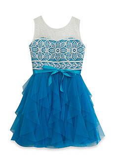 Rare Editions Lace Cascade Dress Girls 7-16