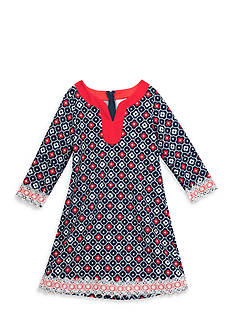 Rare Editions Nautical Navy And Coral Geo Print Dress Girls 7-16