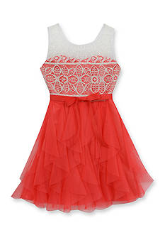 Rare Editions Lace Dress With Cascade Skirt Girls 7-16