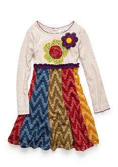 Rare Editions Knit Flower Applique Multi Tier Dress Girls 4-6X