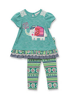 Rare Editions Space Dye Elephant Top and Leggings Set Girls 4-6x