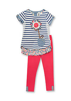 Rare Editions Stripe Flower Mixed Top and Legging Set Girls 4-6x